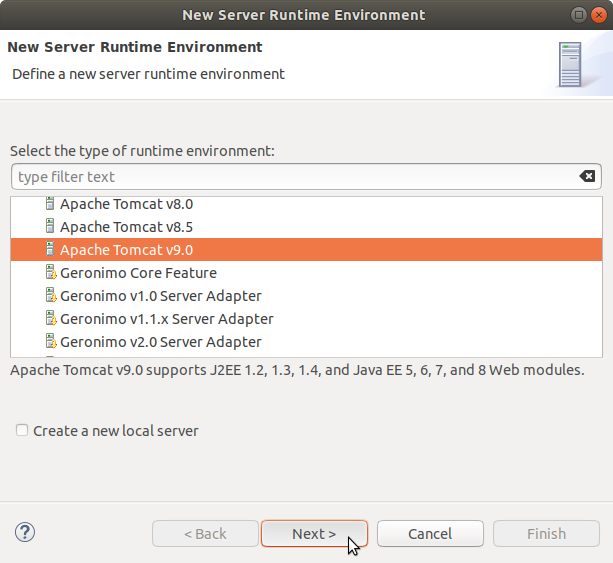 Eclipse JEE Create Tomcat 9 Server 2