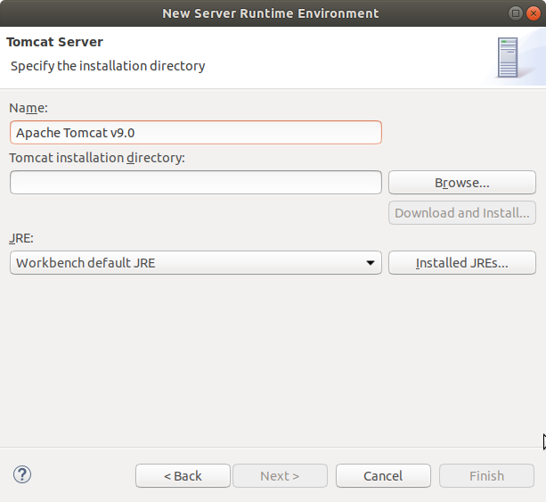 Eclipse JEE Create Tomcat 9 Server 1