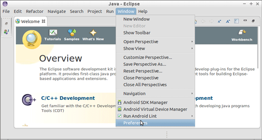 Ubuntu 13.10 Eclipse Android Development NDK Getting-Started - Eclipse Preferences