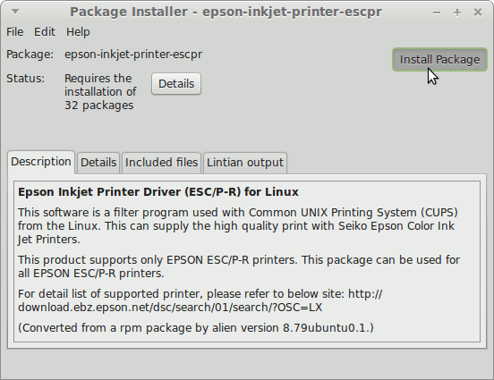 How to Install the Epson XP-950 All-in-One Printer Drivers on Linux Mint 17 Qiana LTS - Linux Mint GDebi Installing Epson Printer Drivers