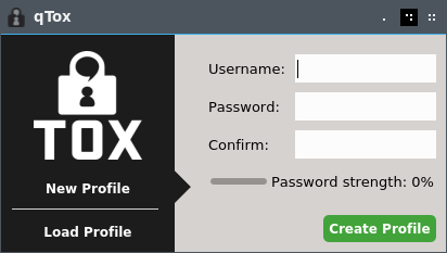 How to Install Tox on Fedora 28 GNU/Linux - qTox Login