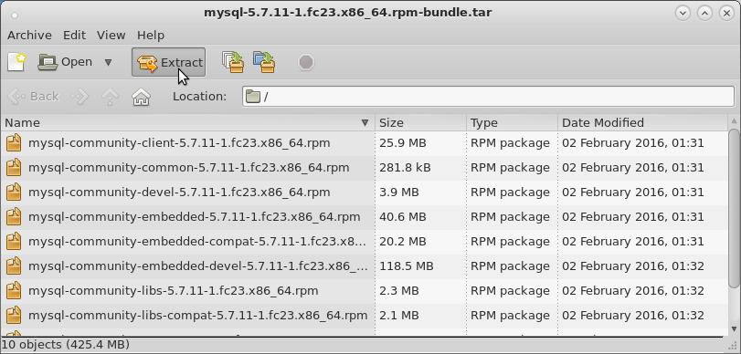 FedoraMySQL Quick Start - Extraction