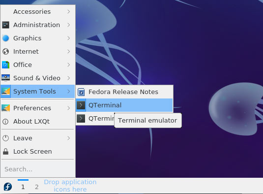 How to Open Terminal on Fedora 30 GNU/Linux - LXQt Open Terminal