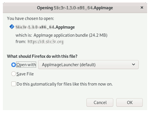 AppImageLauncher Getting-Started - Firefox Prompt