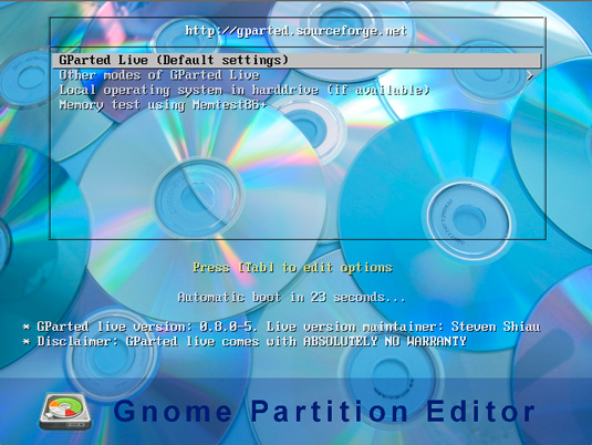 Partioning Windows 8 Disk - Starting GParted