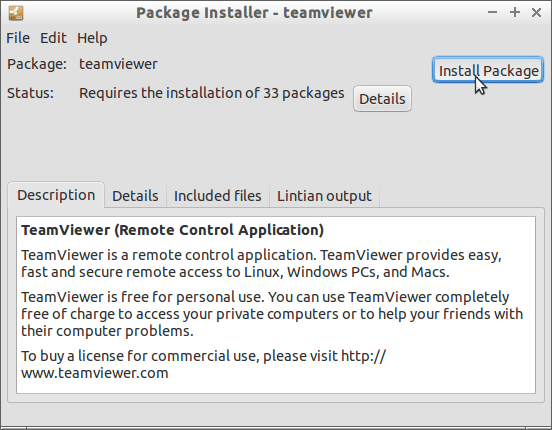 Install TeamViewer 15 for Linux Mint 18 Sarah - Installing by Package Manager 1