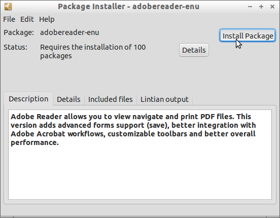 Install Adobe Reader 9+ on Lubuntu 17.04 Zesty 64-bit - GDebi Install Adobe Reader