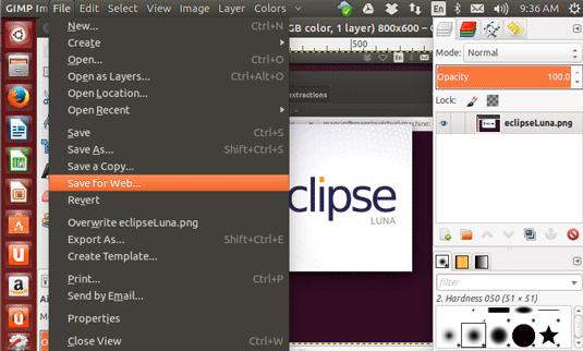 Save Images for Web by GIMP on Ubuntu Linux - Saving