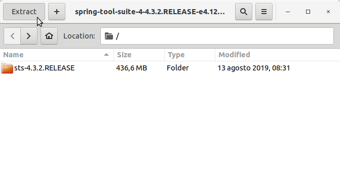How to Install Spring Tool Suite Deepin GNU/Linux Easy Guide - Extracting