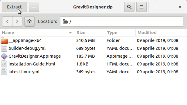 How to Install Gravit Designer in Kali Linux - Extraction