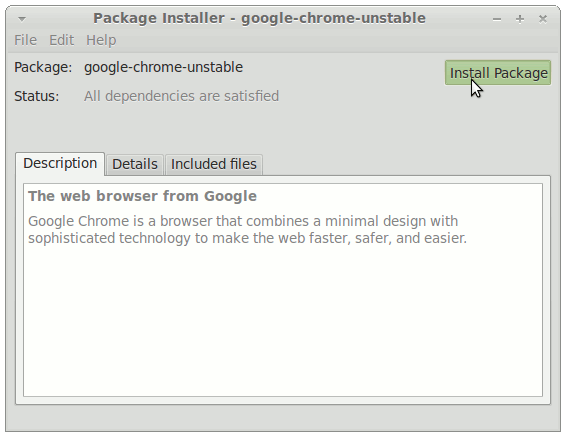 GDebi Installing Chrome Unstable .deb Package