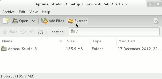 Linux Gnome3 Aptana Studio 3 Archive Extraction