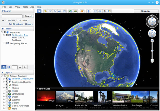 Installing Google Earth Pro for Oracle - Google Earth Pro GUI