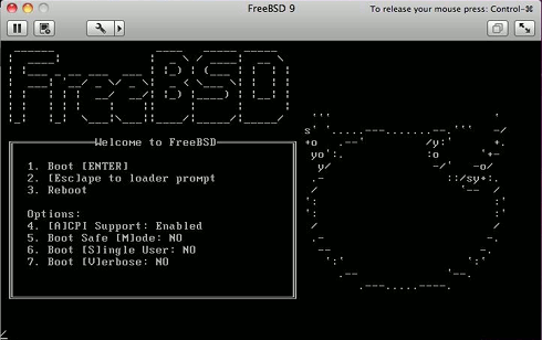 Install FreeBSD 9 KDE 4 VMWare Fusion 4 Start FreeBSD Installation