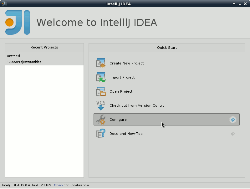 IntelliJ IDEA 2020 Welcome - Configure