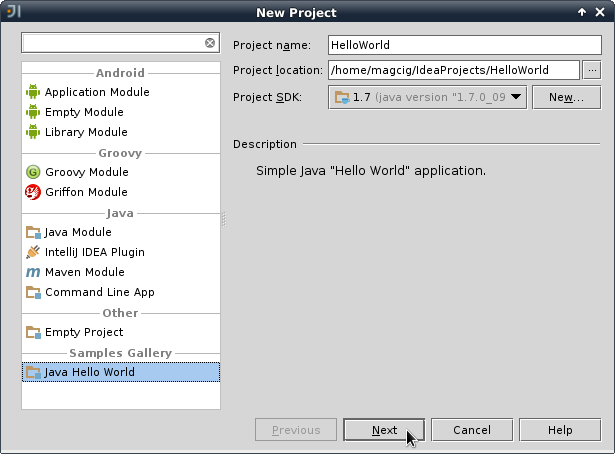IntelliJ 12.X New Project Naming