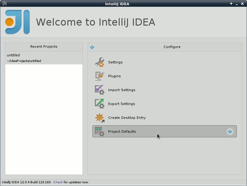 IntelliJ IDEA 2020 Welcome - Configure - Project Defaults