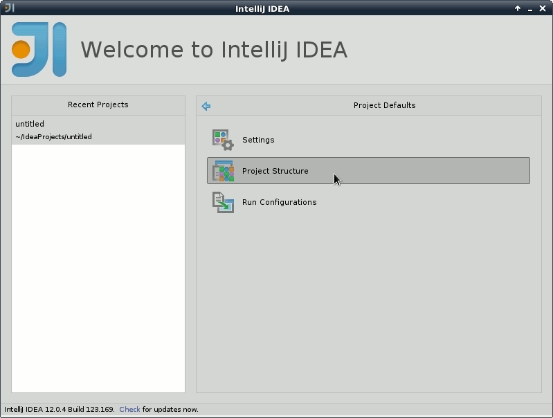 IntelliJ IDEA 2020 Welcome - Configure - Project Defaults - Project Structure