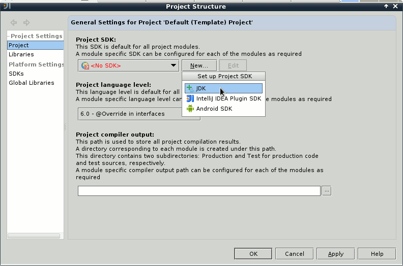IntelliJ IDEA 2020 Welcome - Configure - Project Defaults - Project Structure - New Sdk