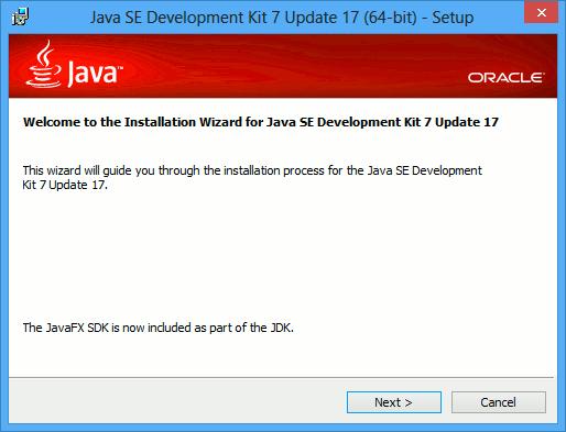 Start JDK 7 Installation Windows 8