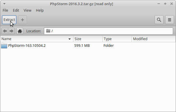 How to Install PhpStorm antiX Linux - Extraction