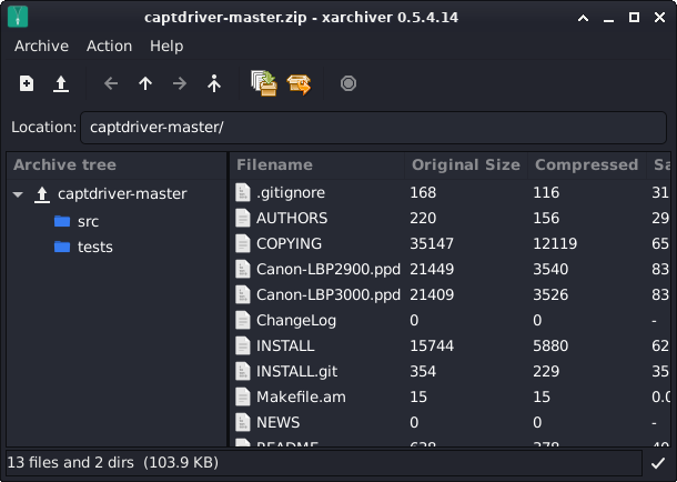 Step-by-step Canon LBP Series Printer Driver CentOS Installation Guide - Extraction