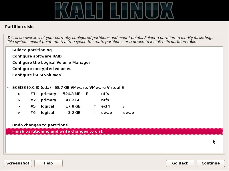 How Partitioning for Kali Installation on Windows 10 Computers - Confirm to Finish Partition and Writhe Changes to Disk