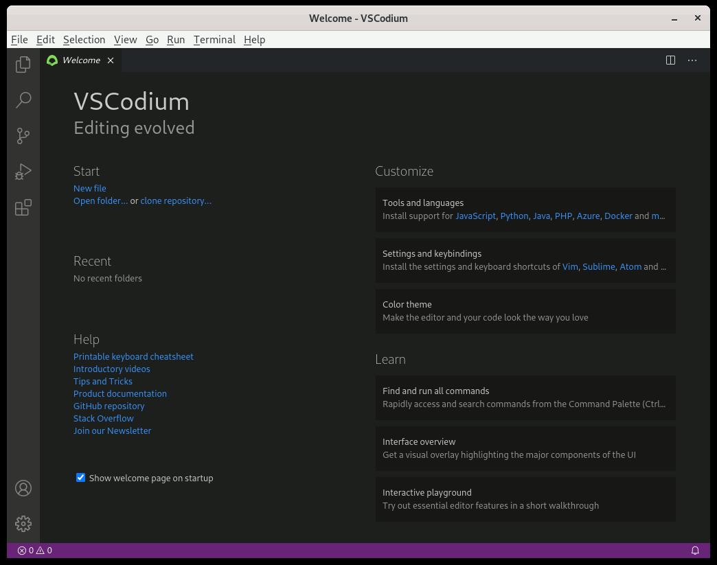 VSCodium Ubuntu 18.04 Installation Guide - UI