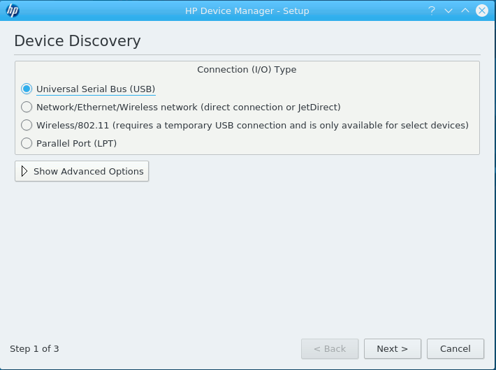 Linux KDE 5 Add HP Printer Easy Guide - HP Device Discovery