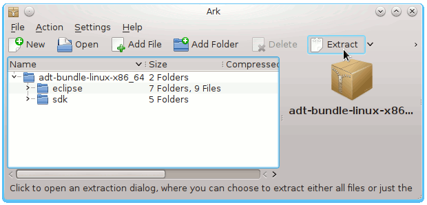 KDE4 Eclipse ADT for Android Extraction