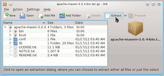 Linux KDE4 Extract Apache Maven