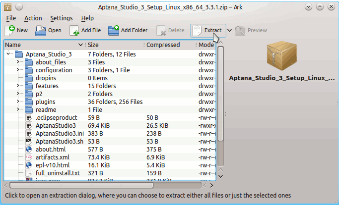 Install Aptana Studio 3 on Gentoo - KDE4 Aptana Studio 3 Archive Extraction