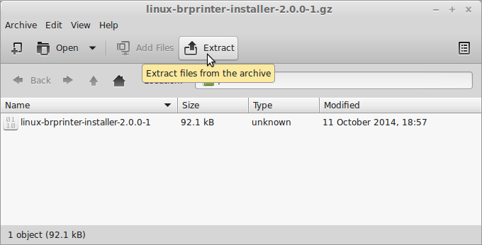 Linux Mint Installing Brother HL-1230 Printer Drivers - Archive Extraction