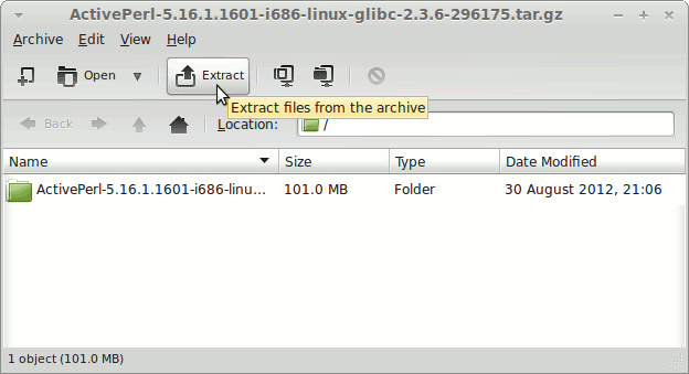 Linux Mint Mate ActivePerl Extraction