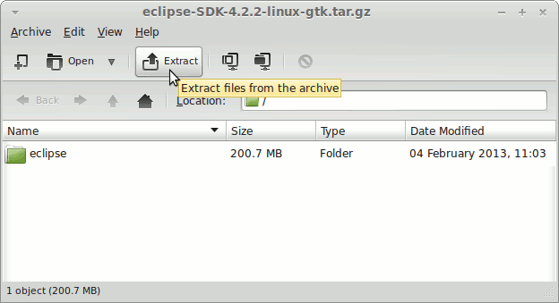 Linux Mint 14 Mate Eclipse Standard Extraction