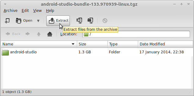 Install Android Studio IDE on CentOS 7.X Linux - Extraction