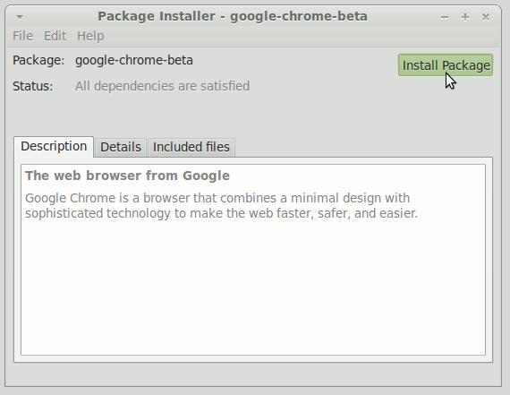 GDebi Installing Chrome Beta .deb Package