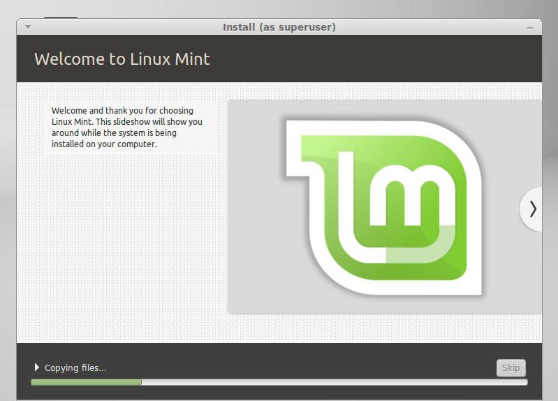 Linux Mint 17 Qiana Cinnamon Installing