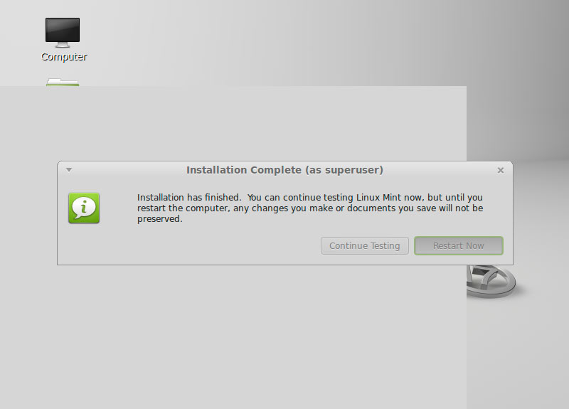 Install Linux Mint 17 Qiana Cinnamon Top of Windows 8 - Success and Reboot