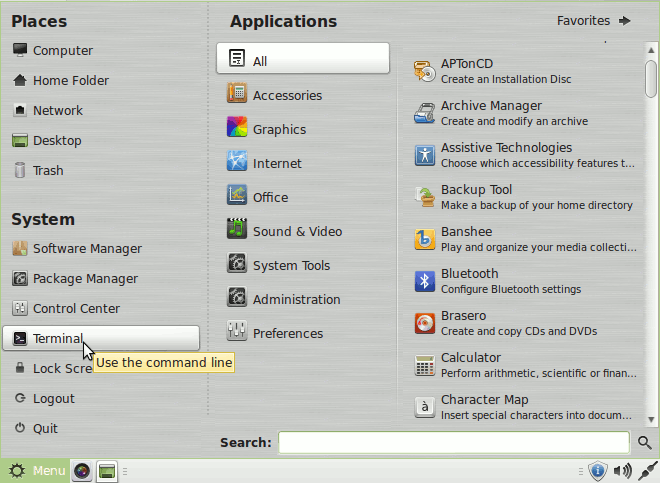 Linux Mint Viber Quick Start - Open Terminal