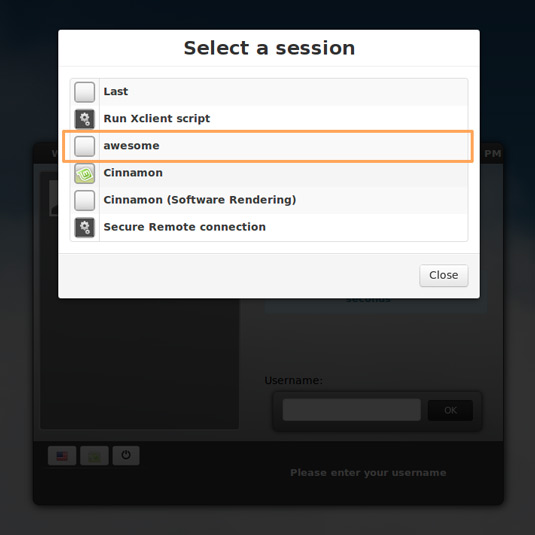 Install Awesome on Linux Mint 16 Petra - Switch Desktop Session to Awesome