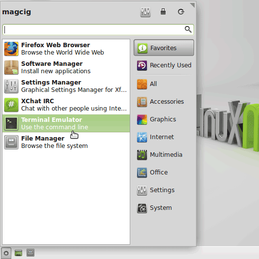 Getting-Started Command Line Terminal for Linux Mint 18 Sarah - Mint Xfce Open Terminal