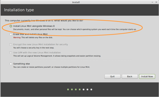 Install Linux Mint 18.1 Serena on Top of Windows 8 - Installing Linux Mint alongside Windows 8
