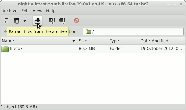 Install Firefox on Linux Mint 20 Extraction