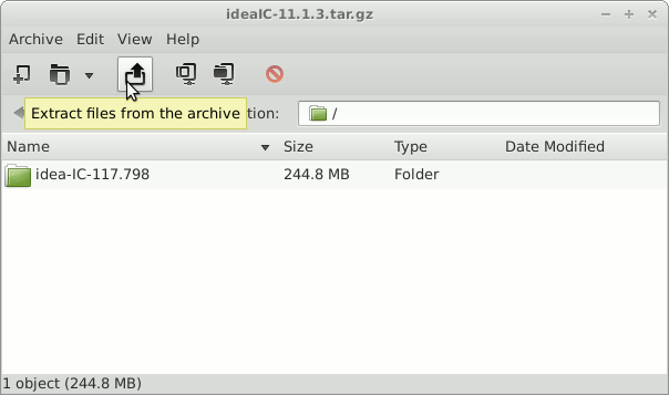 Install IntelliJ on Linux Mint 17.1 Rebecca 32/64-bit - Archive Extraction