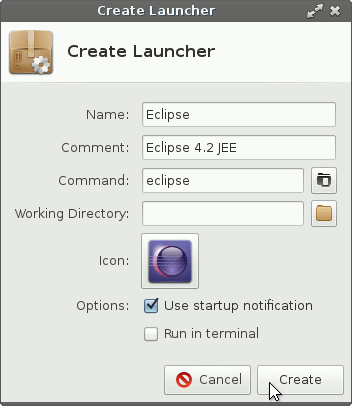 Xfce Launcher Creation Confirmation