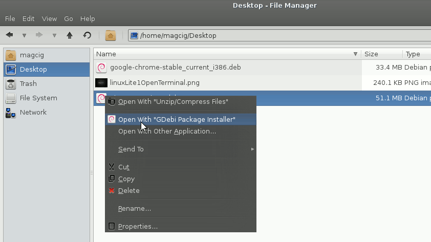 Linux Lite 1.0.4 Installing Packages with GDebi