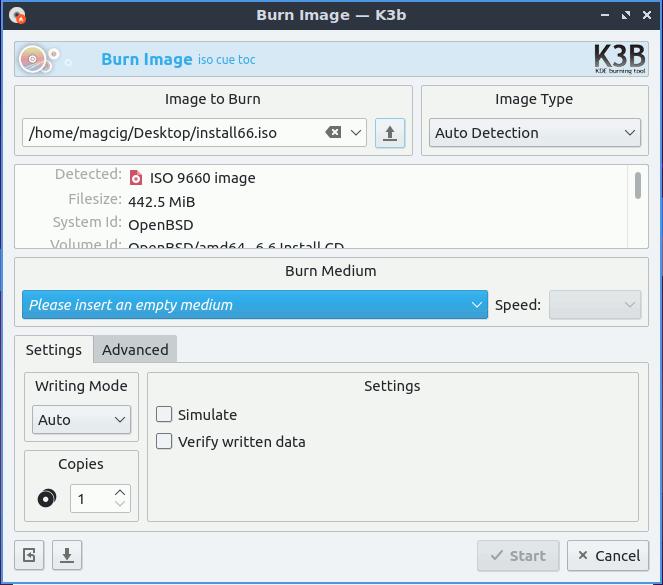 Burning ISO to Disk on Lubuntu 20.04 Focal LTS - Start Burning
