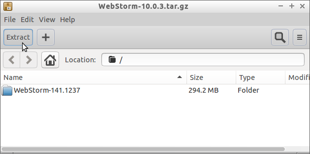 How to Install WebStorm IDE on Fedora 28 - Extraction