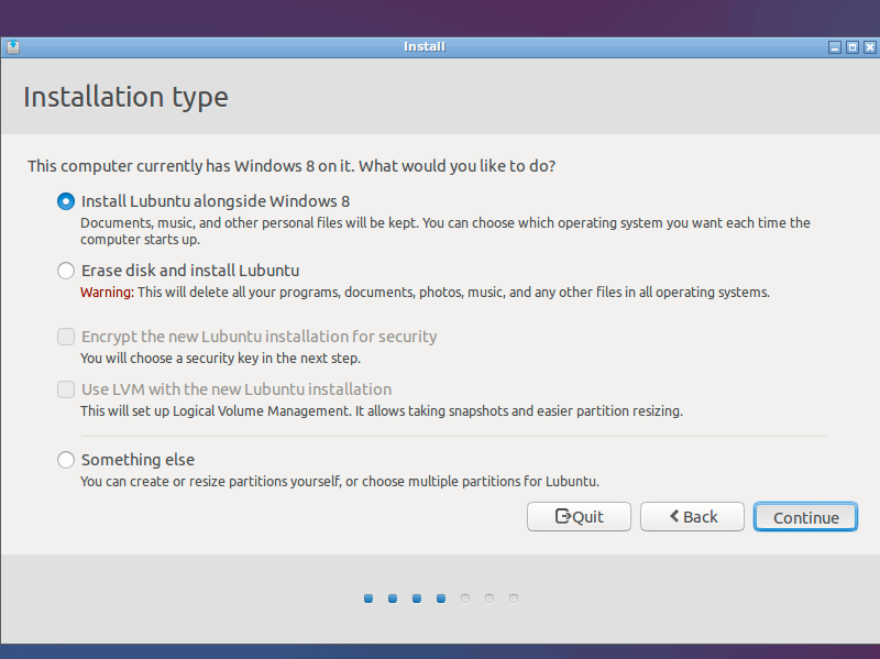 Lubuntu 14.10 Utopic Installation Steps on Top of Windows 8 - install lubuntu alongside windows 8